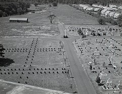 View of St. Andrew Cemetery from the top of St. Andrew Memorial Church. 1960s.