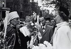 Parishioners greeting Metropolitan John during a parish visitation. Undated, likely 1950s.